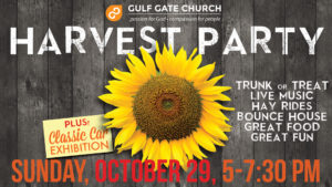harvest party, gulf gate church, cars, live music, classic cars, pumpkins, free food