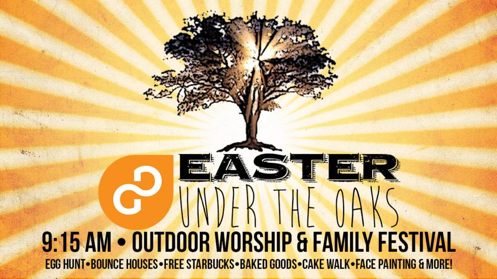 easter under the oaks, easter outdoor worship service, gulf gate church, outside worship, Easter egg hunt, bounce house, festival, free Starbucks coffee, cake walk, near siesta key beach